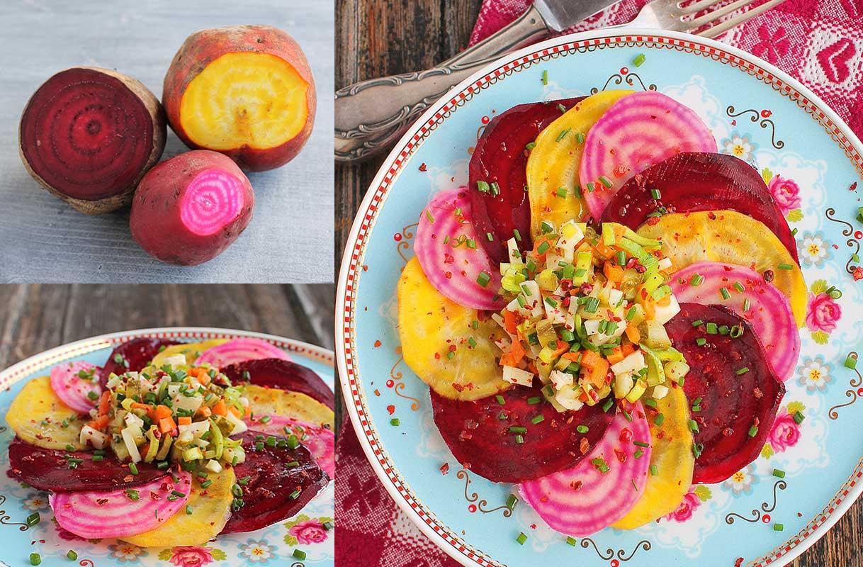 Bunte Bete als Carpaccio ist eine feine vegetarische Vorspeise
