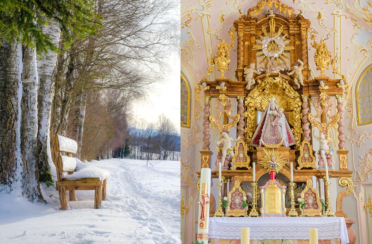 Bank im Schnee, Altar aus der Kirche am Hohen Peißenberg