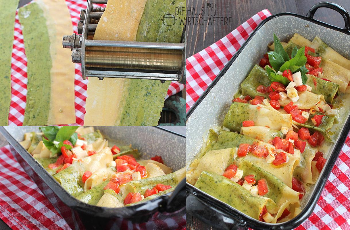 Zweifarbige Bärlauchnudeln mit Feta und Tomaten gefüllt.
