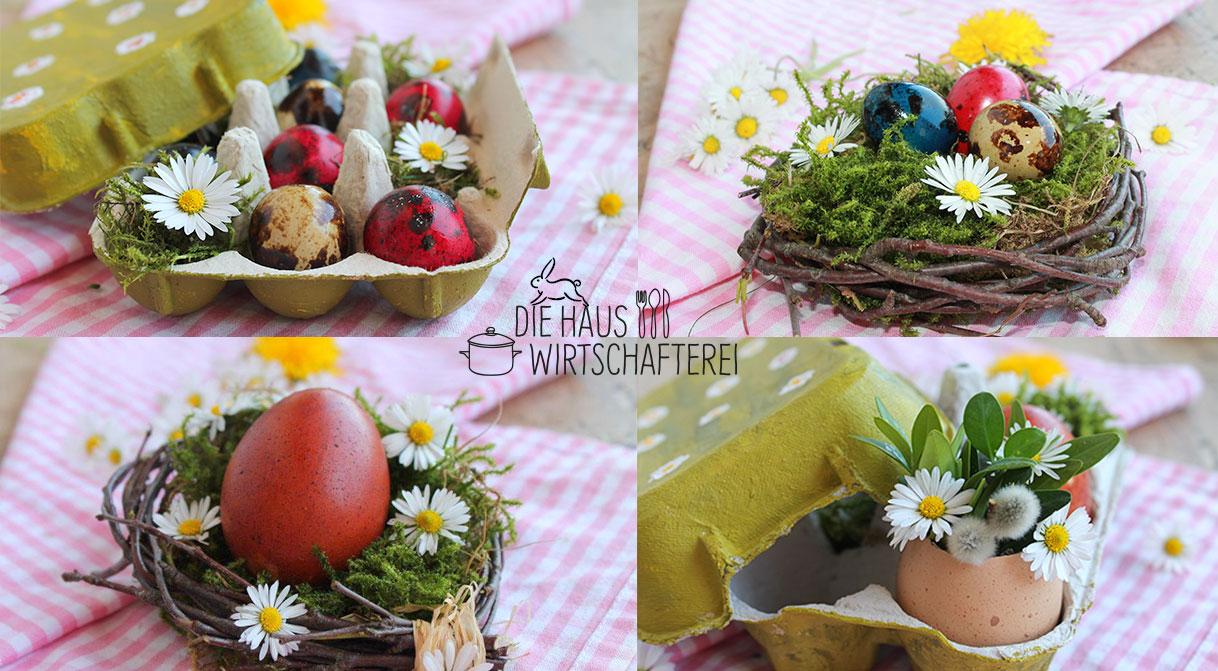 Ostereier mit Naturfarben färben, Osternester selbst gebunden