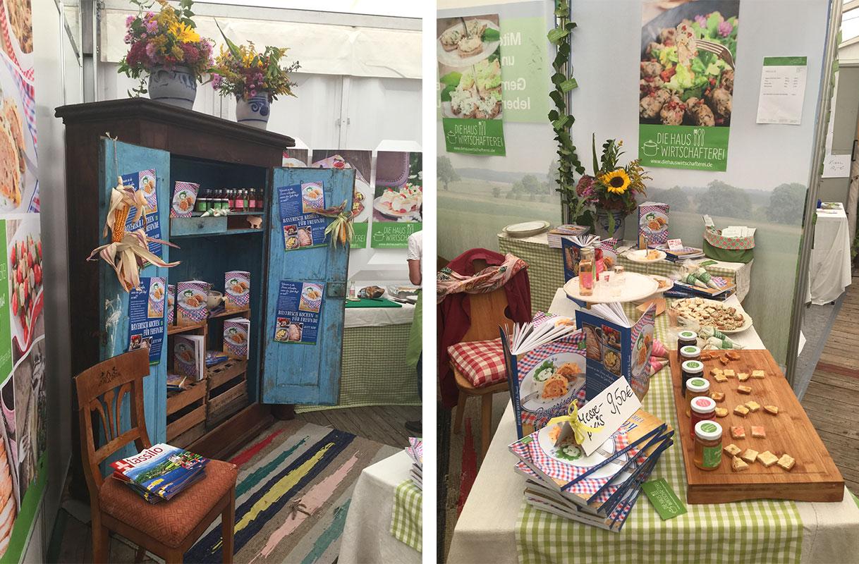 Unser Stand in Halle H - mit dabei ein alter Bauernkasten gefüllt mit unserem Buch und natürlich viele Kostproben.